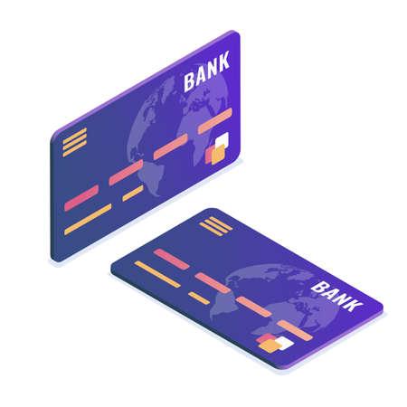 Isometric vector illustration. Credit card. Isometric design.