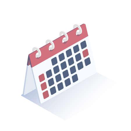 Isometric vector illustration. Calendar icon. Desktop calendar. Isometric design.