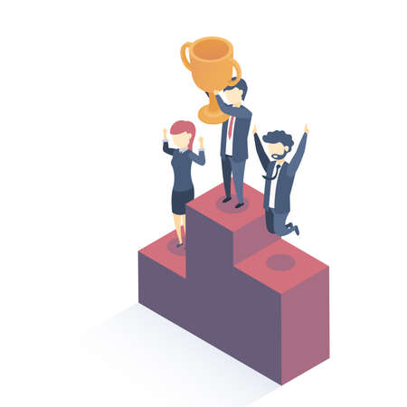Isometric vector illustration. Concept of success. Successful business. Happy businessmen have received a reward for their work. Flat style.