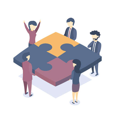 Isometric vector illustration. The concept of business teamwork. Business problem solutions. Corporate training. Flat style.