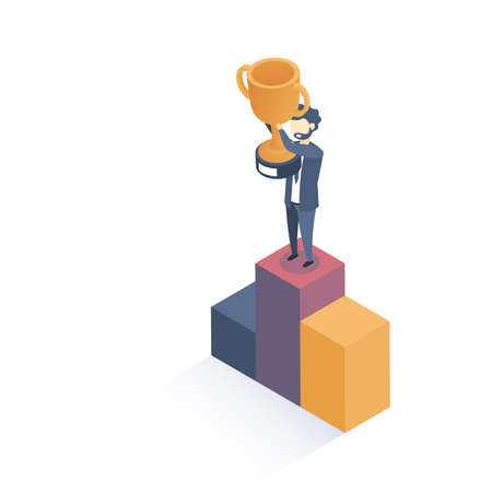 Isometric vector illustration. Concept of winner. Successful business. Flat style. Illustration