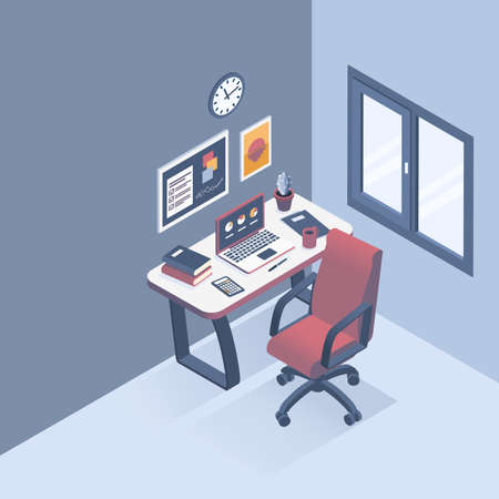 Isometric vector illustration. The concept of the workplace in the office. Flat style.