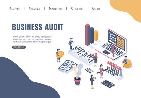 Isometric vector illustration. The concept of business auditing. Verification of accounting data. Financial report. Professional audit advice. Flat isometric style.