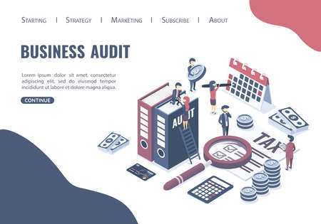 Isometric vector illustration. The concept of business auditing. Verification of accounting data. Professional audit advice. Web page. Illustration