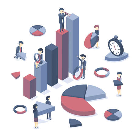 Isometric vector illustration. Concept of data analysis, information gathering, formatting of graphs and diagrams. Business statistics