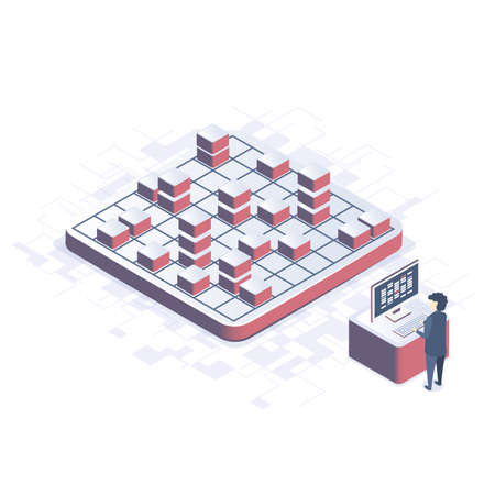 Isometric vector illustration. Concept of Data Analysis. Person analyzes data.