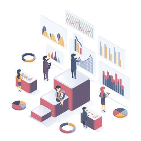 Isometric vector illustration. Concept of Data Analysis. Collect data, analyze graphs, analyze statistics.