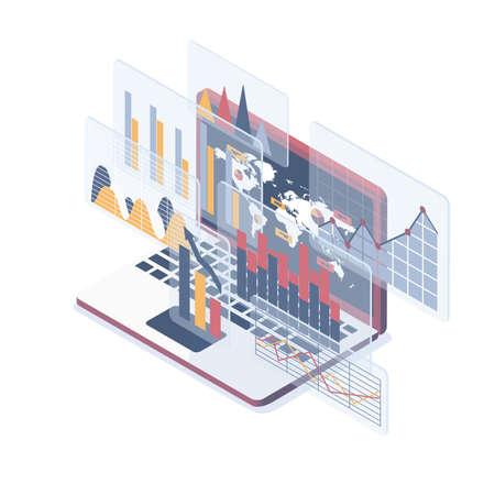 Isometric vector illustration. Concept of Data Analysis.
