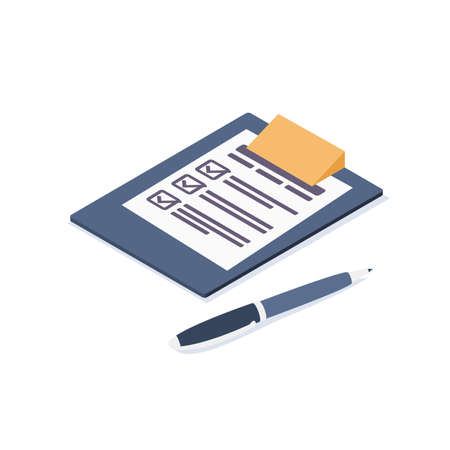 Isometric vector illustration. Tablet with the document, the completed form. Isometric icon.
