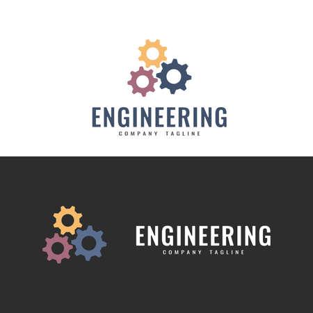 Vector logo template. Engineering Gears Logo. Vector symbol, badge, icon. Illustration