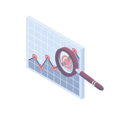 Isometric vector illustration. Infographic vector elements. Graph with magnifying glass. Isometric icon.