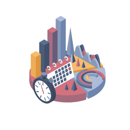 Isometric vector illustration. Set of business elements, infographics and diagrams.