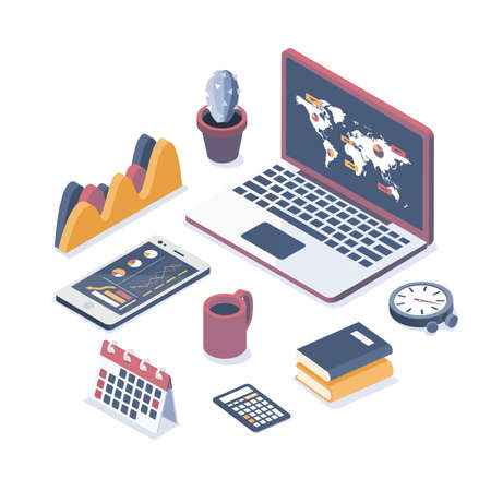 Isometric vector illustration. Laptop with elements of infographics. Collection of business objects.