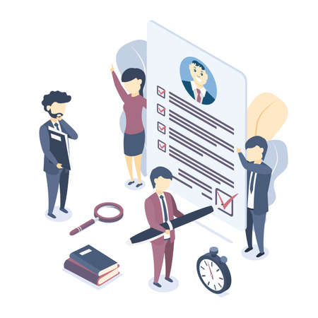 Isometric vector illustration. Document with personal data, application for employment, professional resume. Isometric vector illustration. Business concept for employment, career choice, job seeker