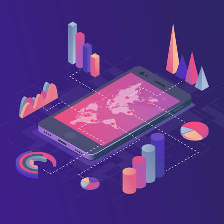 Isometric vector illustration. Smartphone with business infographics. The concept of analyzing statistics collecting data through a mobile application.
