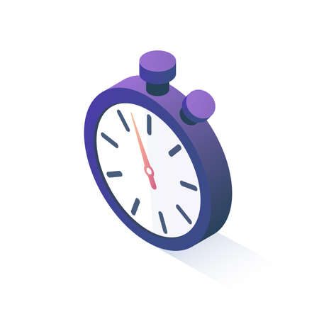 Vector illustration. Isometric Stopwatch are isolated on a white background. Isometric icon for your projects.