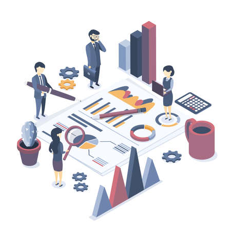 Isometric vector illustration. The concept of business auditing. Analysis of statistics, management, administration. Verification of accounting data. Financial report. Professional audit advice. Flat isometric style.