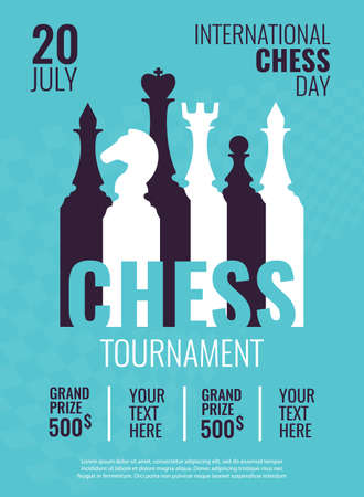 Vector illustration about chess tournament, match, game. Use as advertising, invitation, banner, poster. International Chess Day.