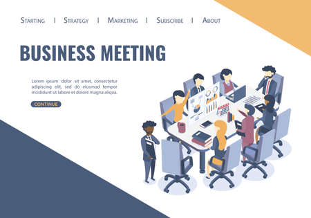 Isometric vector illustration. The concept of business meeting. Discussion of business projects, market analysis. Group work of businessmen.