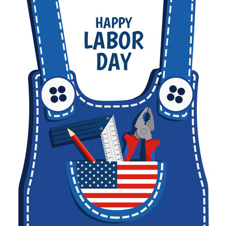 Vector Illustration on the theme of Labor Day. For a poster and banner. Work clothes with tools. Illustration
