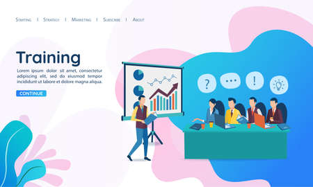 The concept of business training. Corporate training. Seminar for employees. Analysis of statistics. Briefing. Vector illustration in flat style. Illusztráció