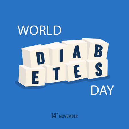Vector Illustration on the theme World Diabetes Day. Inscription diabetes on sugar.
