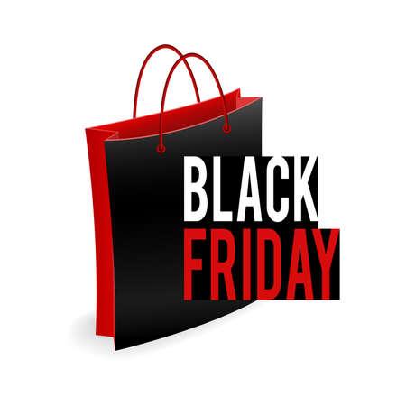 Black and red shop bag. Symbol of seasonal sale Black Friday