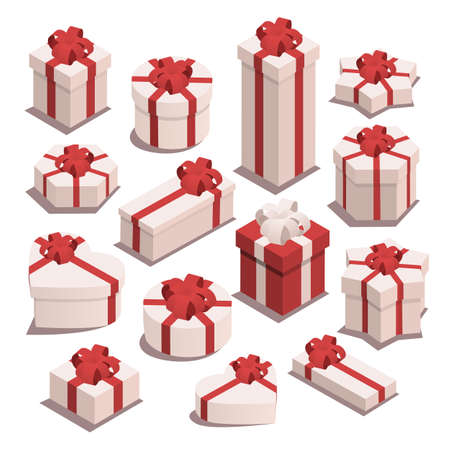 Set of vector isometric christmas gifts. Gift boxes of different shapes