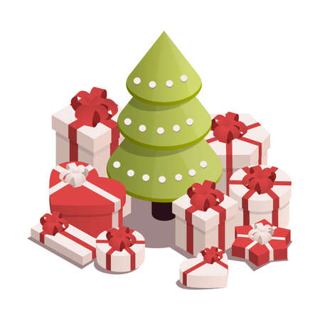 Isometric illustration for christmas and new year. Christmas tree with presents. Stock Illustratie