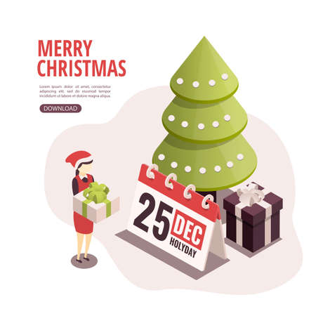 Isometric illustration for christmas and new year. Preparation for the holidays Stock Illustratie