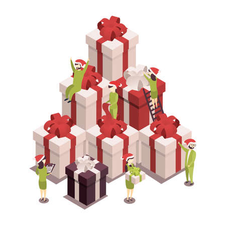 Isometric illustration for christmas and new year. The concept of preparing for holyday. People collect and pack gifts.