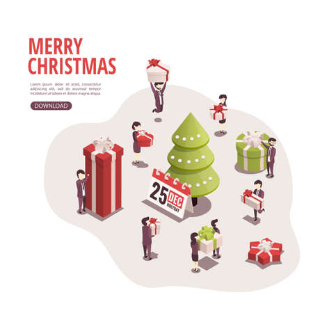 Isometric illustration for christmas and new year. Employees give each other presents for Christmas.