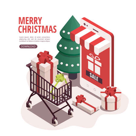 Isometric illustration for christmas and new year. The concept of buying Christmas presents through a mobile app.