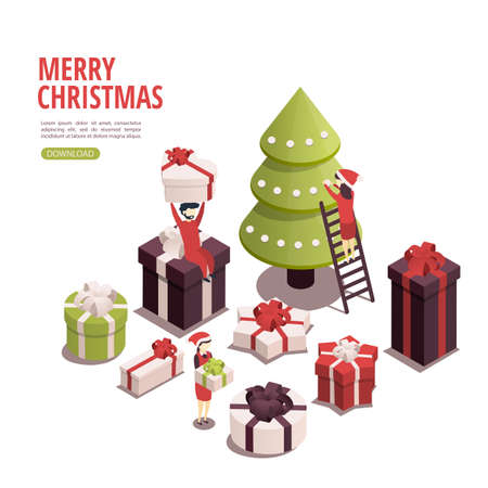 Isometric illustration for christmas and new year. People prepare for the holiday, prepare gifts.