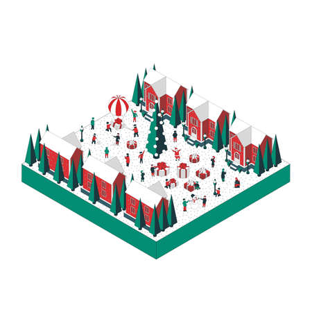 Vector isometric illustration on the theme winter holiday. City residents celebrate winter holidays, receive gifts, play snowballs, greet each other with a holiday. For a poster or banner and greeting card. Illustration