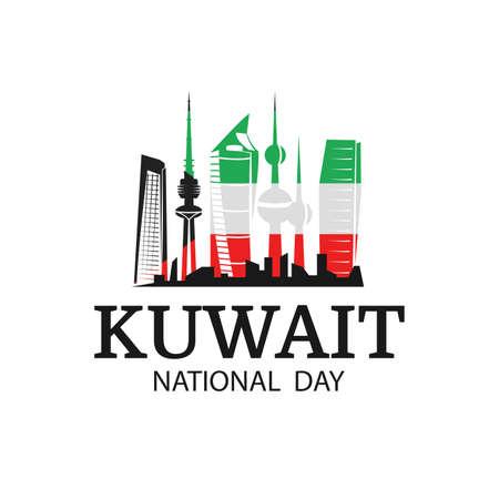 Illustration vectorielle sur le thème de la fête nationale du Koweït. Monuments nationaux Koweït aux couleurs du drapeau.