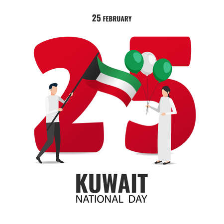 Vector Illustration on the theme National Day Kuwait. Characters hold the flag and balloons on the background of the number 25. Flat style.