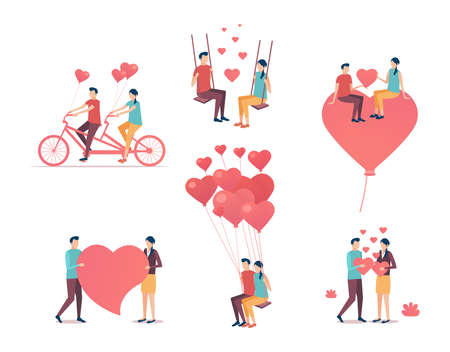 Valentines Day. Collection of the people who are in love. Flat design vector illustration. Illustration