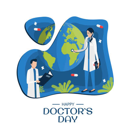 Vector Illustration on the theme Doctor`s Day. Greeting card Happy Doctor's Day. Modern flat design. Foto de archivo - 138297745