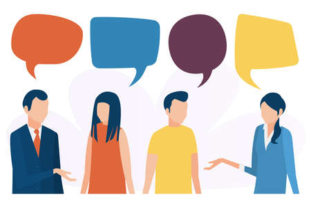 The concept of social communication. People talk, discuss, and conduct a dialogue. Social networks, chat, forum. Vector illustration in flat style.