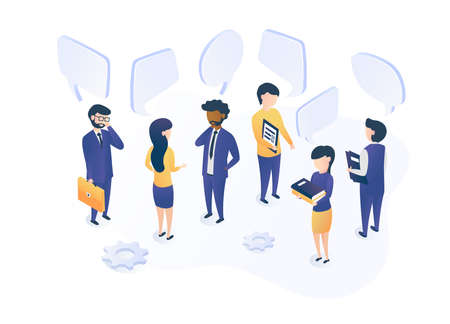 Isometric vector illustration. The concept of social communication. People talk, discuss, and conduct a dialogue. Social networks, chat, forum.