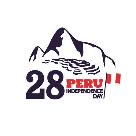 Vector Illustration of Peru Independence Day. Machu Picchu as a cultural symbol of Peru