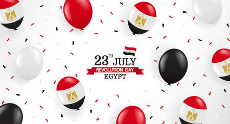 Vector Illustration of Revolution Day Egypt. Background with balloons and confetti.