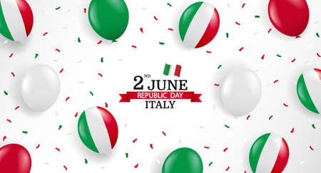 Vector Illustration of Republic Day Italy. Background with balloons and confetti. 일러스트