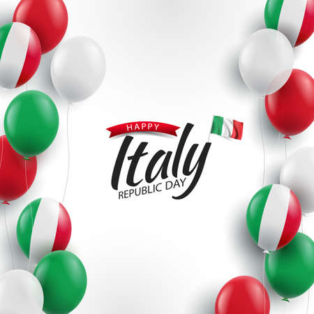 Vector Illustration of Republic Day Italy. Background with balloons