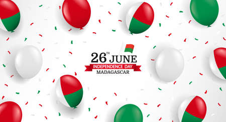 Vector Illustration of Madagascar Independence Day. Background with balloons and confetti.
