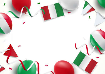 Vector Illustration of Italy Holiday. Background with balloons, flags