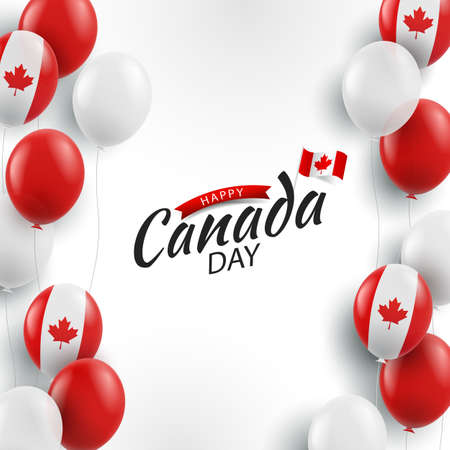 Vector Illustration of Canada day. Background with balloons