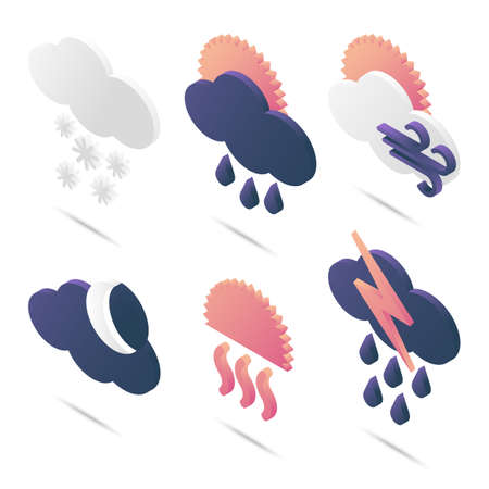 A set of weather isometric icons