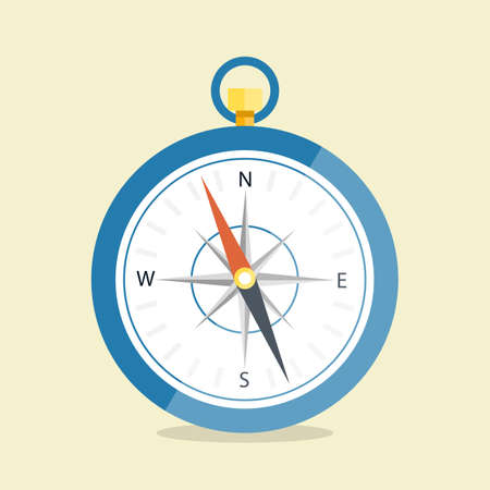 Vector illustration. Compass are isolated on a simple background. Flat style